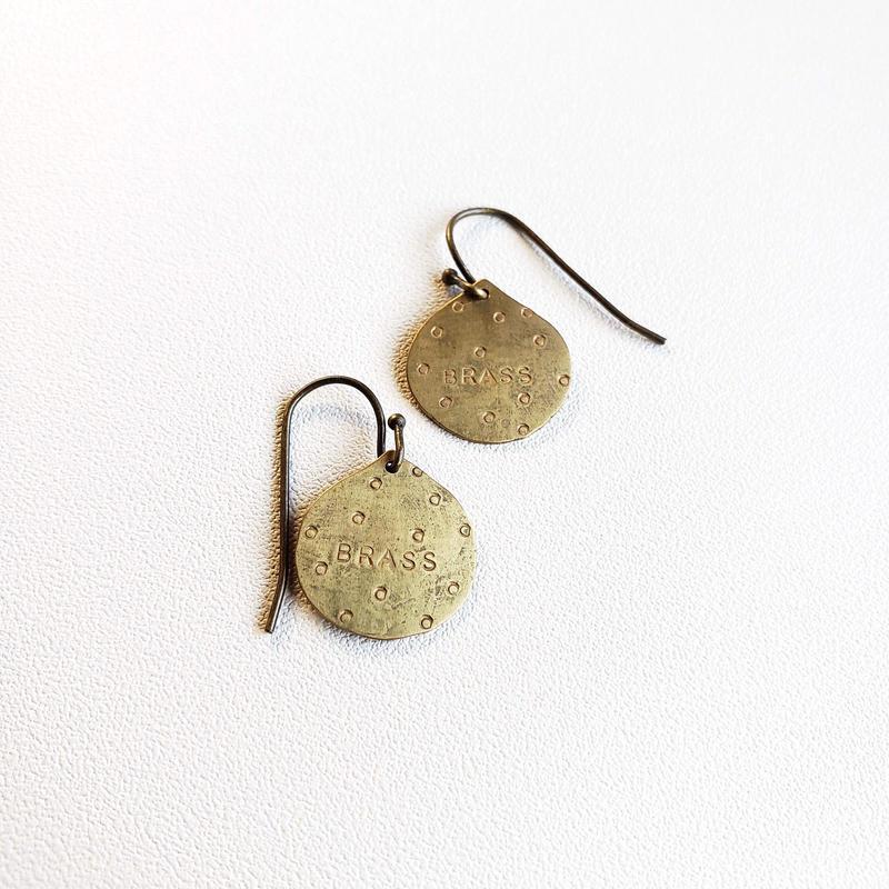 真鍮ピアス「ぷっくり雫」/ French hook brass earring 'dew'