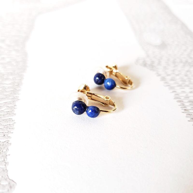 ラピスイヤリング/ Screw Clip Earring 'Lapis Lazuli'