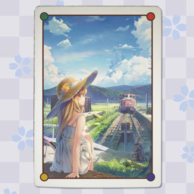 【wingheart】九谷焼アートパネル_終点猫駅(スタンド付き)