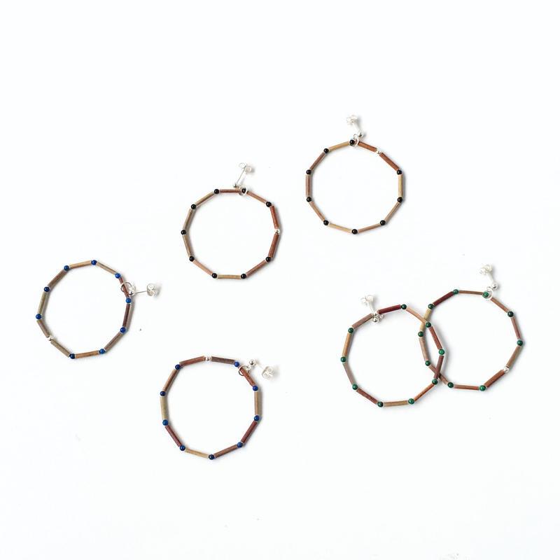 BEADS ROUND 10 EARRINGS (3 STONES) - ピアス