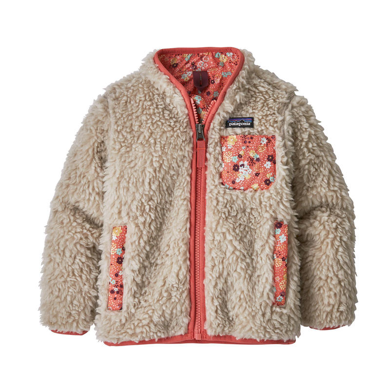 Patagonia(パタゴニア) ベビー・レトロX・ジャケット  #61025  Natural w/Untamed Ditsy: Spiced Coral (NUDC)