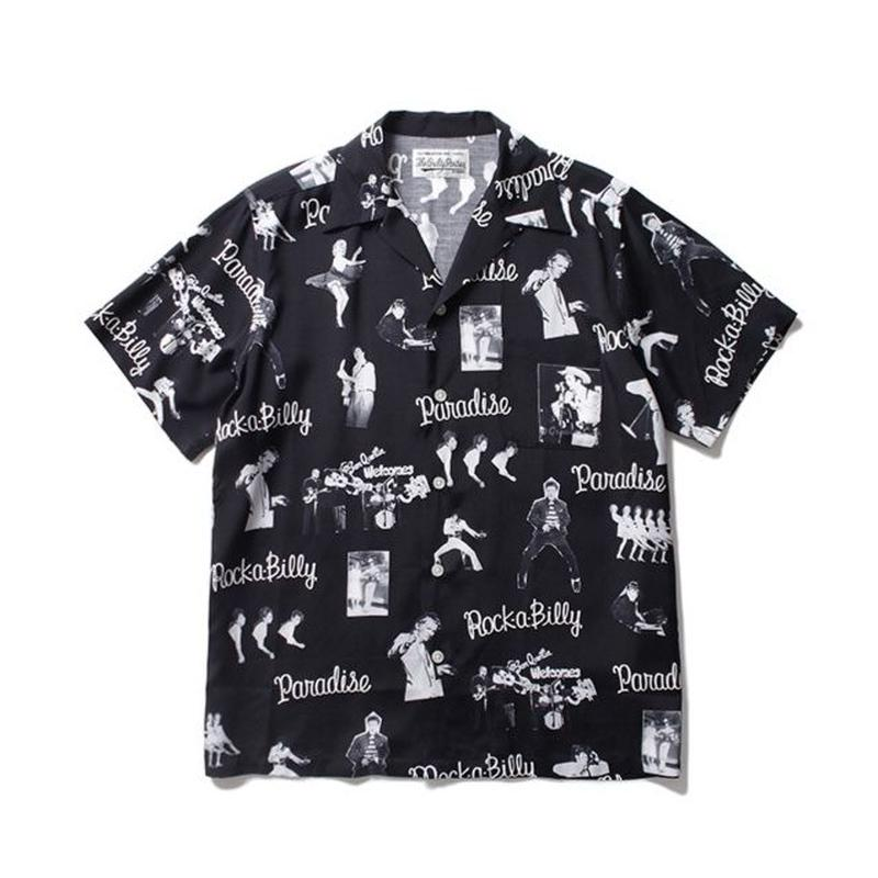 "WACKO MARIA /  ""ROCKABILLY"" S/S HAWAIIAN SHIRT (black)"