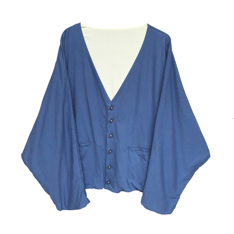 PHINGERIN / DOUBLE SIDED CARDIGAN (navy x l.yellow)