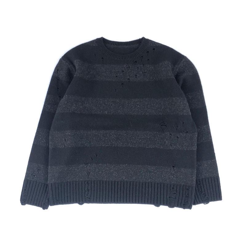 THREE FACE / damage border knit (black×gray)