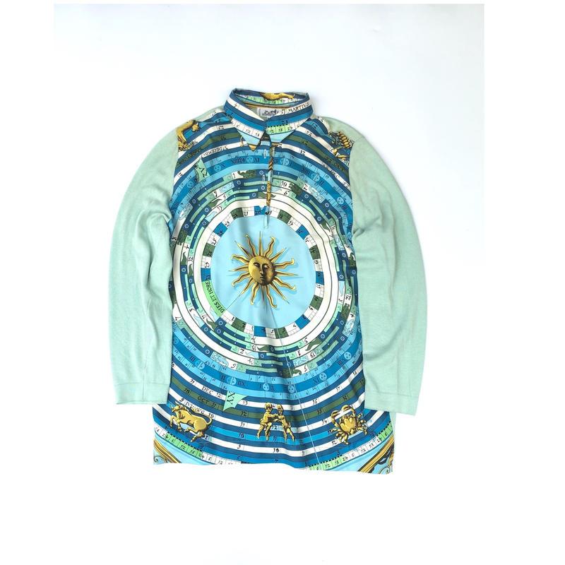 HERMES / Silk Scarf Pattern L/S Polo Shirt (sax) (spice)
