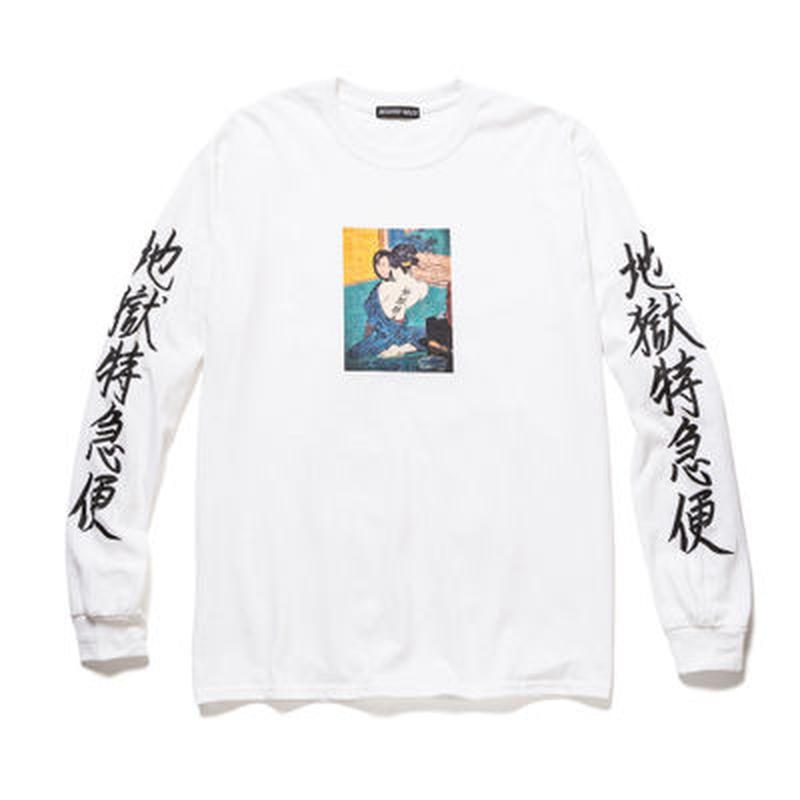 """Delivery Hells / """"地獄特急便"""" L/S Tee (white)"""