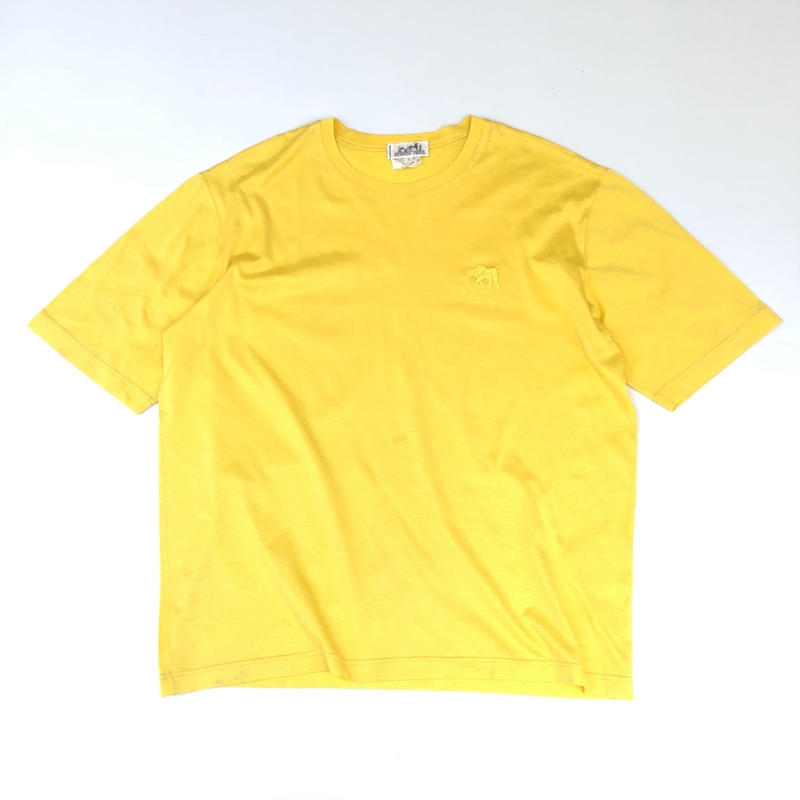 """HERMES /  Embroidery S/S T-shirt """"elephant"""" (yellow) (spice)"""