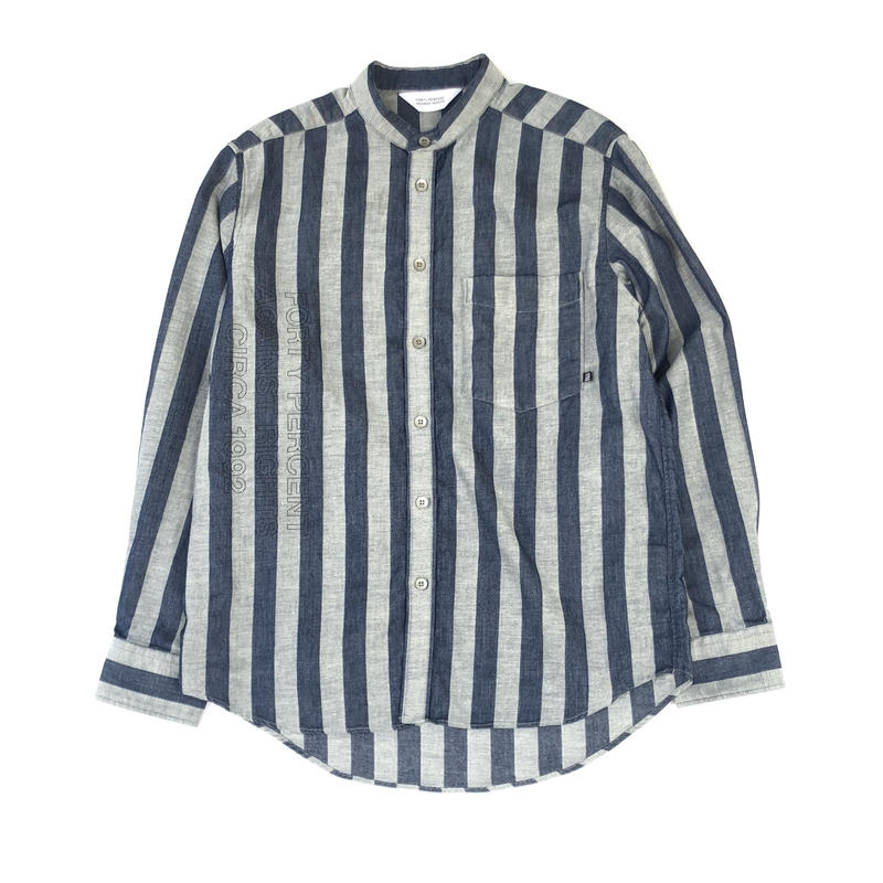 FORTY PERCENT AGAINST RIGHTS / CHEF Stripe Shirt L/S  (indigo)