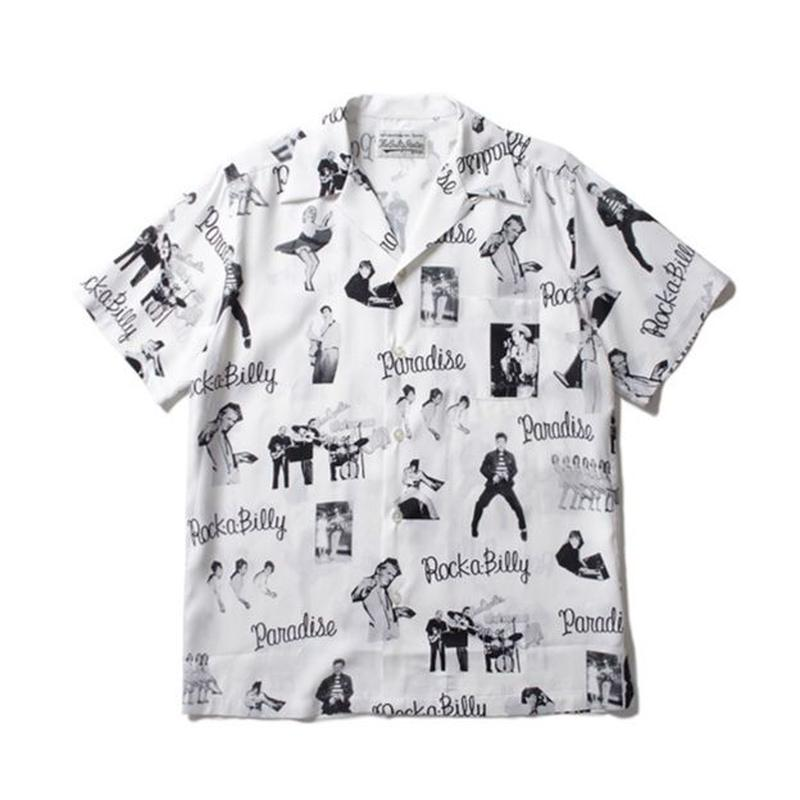"WACKO MARIA /  ""ROCKABILLY"" S/S HAWAIIAN SHIRT (white)"