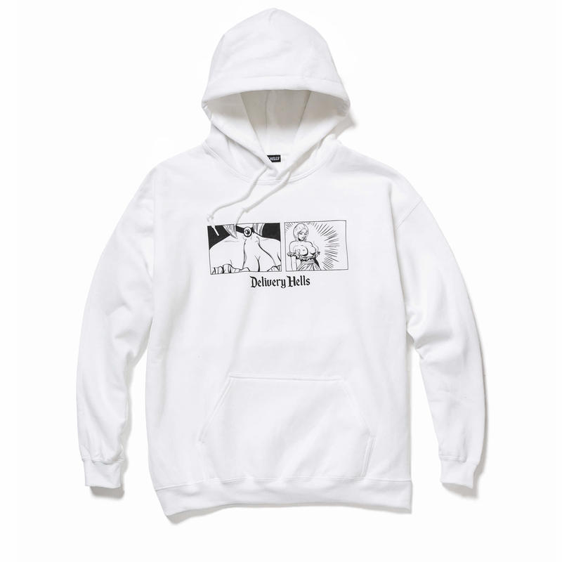"Delivery Hells / ""come loose"" HOODIE (white)"