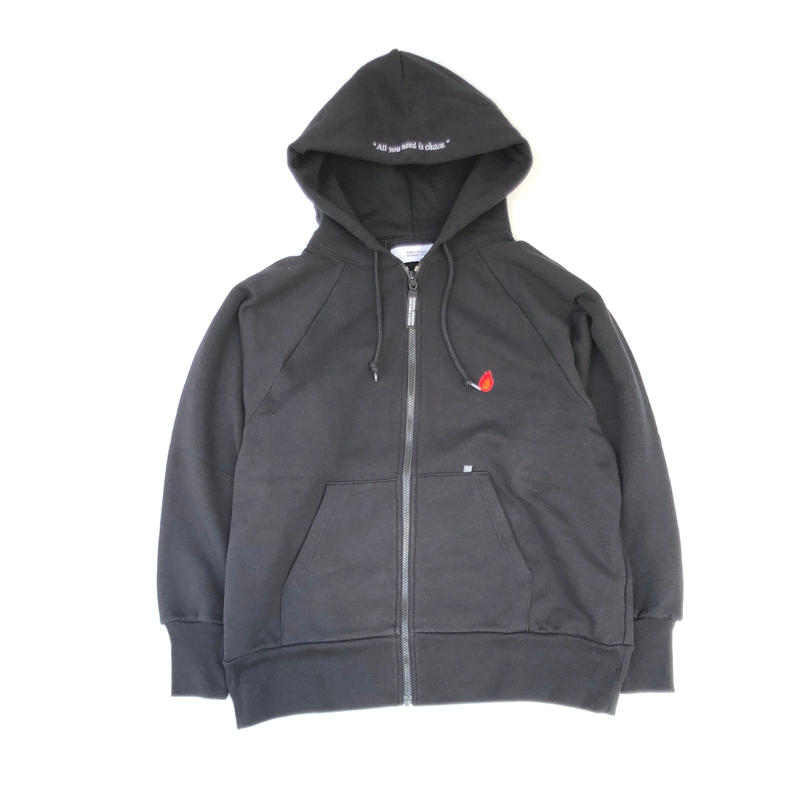 "FORTY PERCENT AGAINST RIGHTS / ""BURN"" ZIP UP HOODED SWEAT SHIRT (black)"