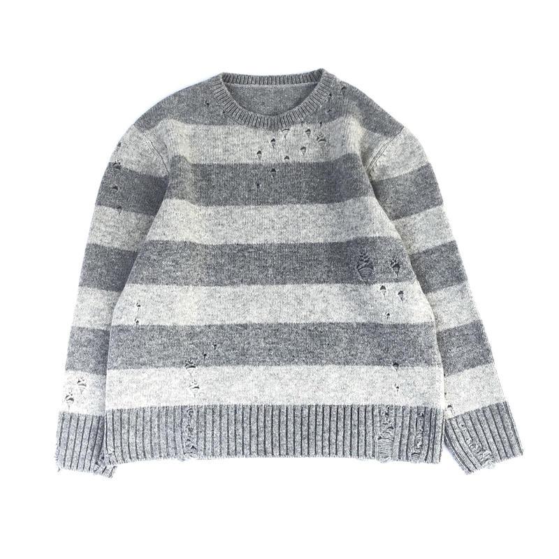THREE FACE / damage border knit (gray×L.gray)
