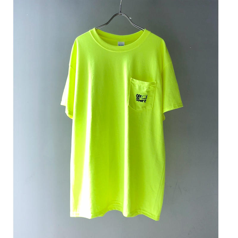 """offshore coffee  """" Pocket  Embroidery  Tee """" ( safty green )"""