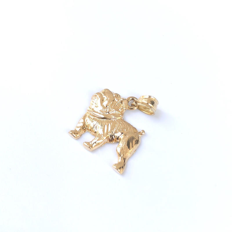 "14K GOLD Pendant Top ""ブルドッグ"""