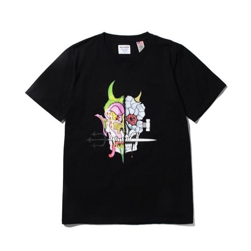 WACKO MARIA x WOLF'S HEAD / OVER SIZE CREW NECK T-SHIRT (black)