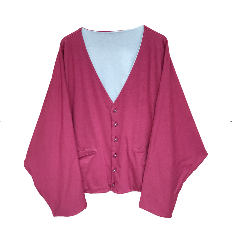 PHINGERIN / DOUBLE SIDED CARDIGAN (burgundy x sax)