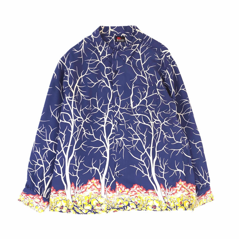 MASSES /  RAYON PRINT SHIRT V (blue)