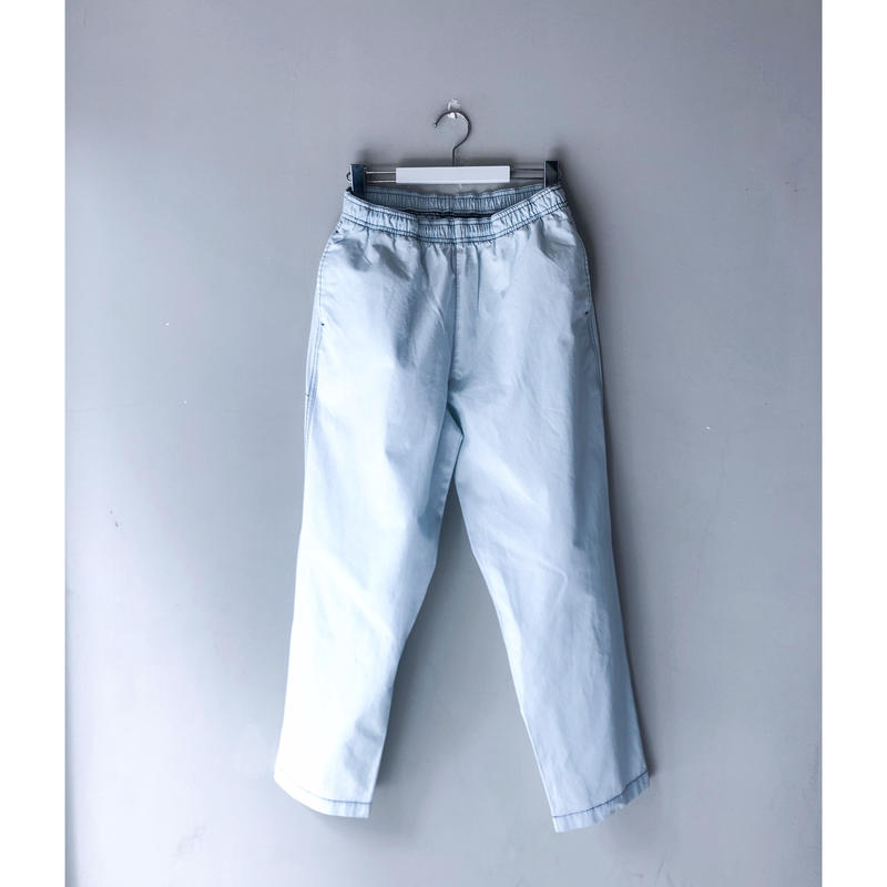 THREE FACE  / indigo Rip-Stop easy pant (bleach)
