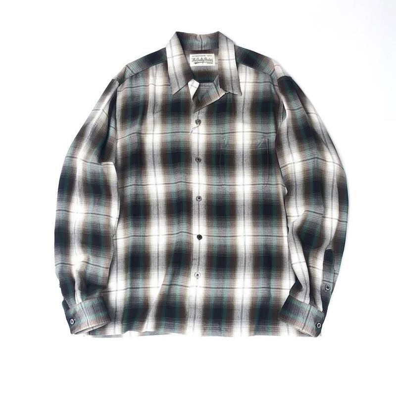 WACKO MARIA / OMBRAY CHECK OPEN COLLAR SHIRT (type-5,green)