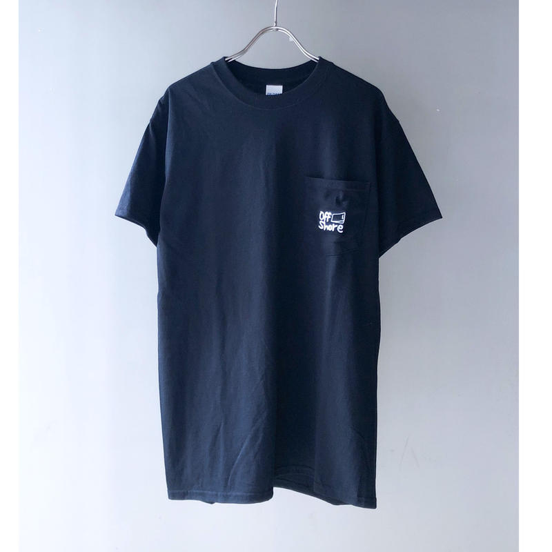 """offshore coffee  """" Pocket  Embroidery  Tee """" ( black )"""