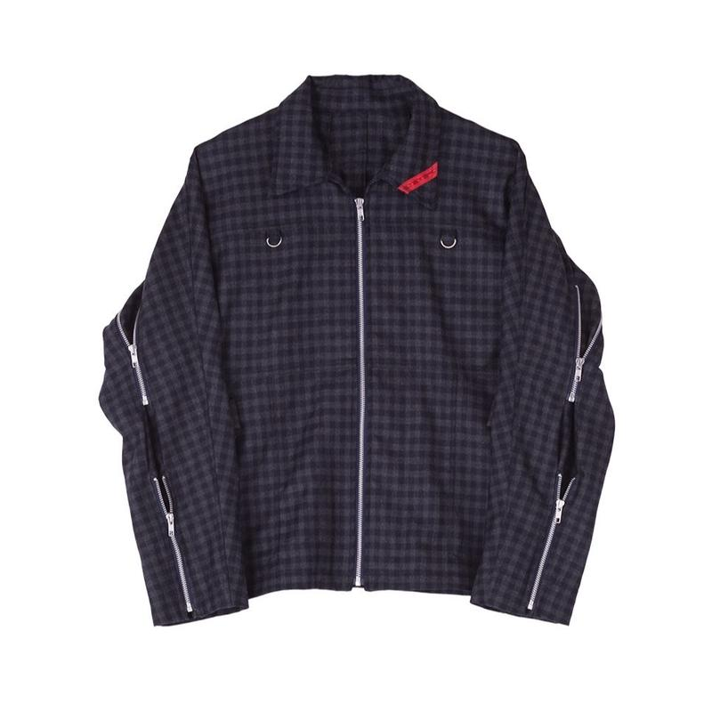 PHINGERIN / ZIP RUN JACKET WOOL (ネイビーチェック)