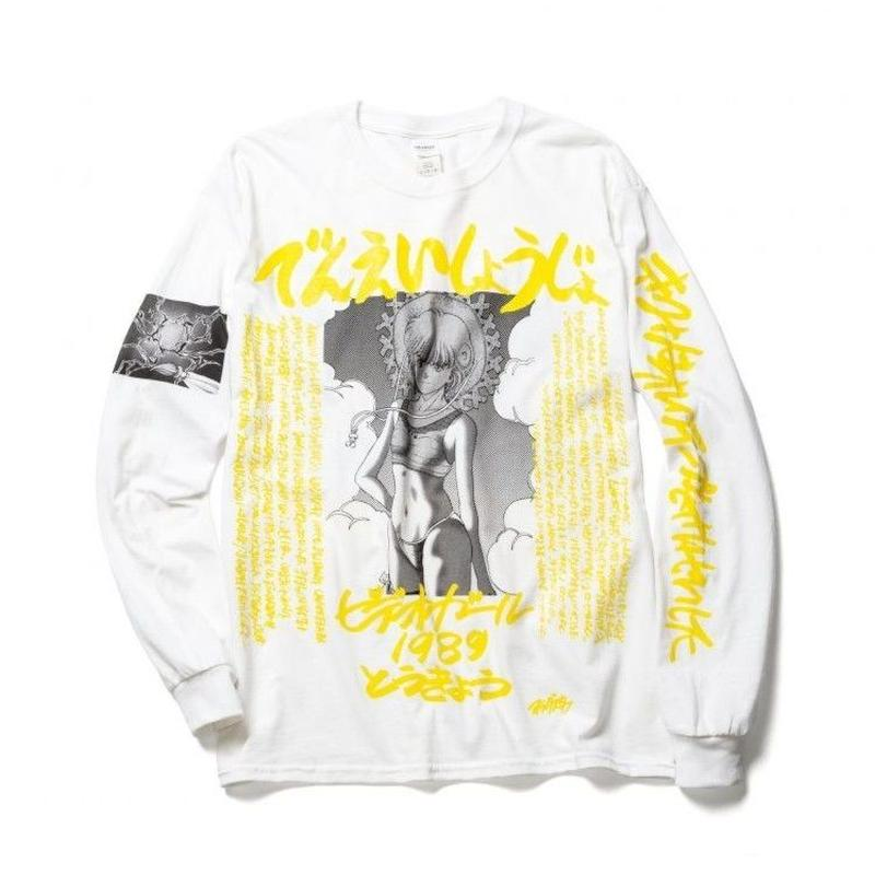 "F-LAGSTUF-F x VIDEO GIRL (電影少女) / ""1989"" L/S Tee (white x yellow)"