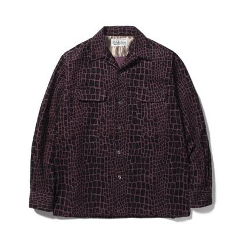 WACKO MARIA / CROCODILE CORDUROY OPEN COLLAR SHIRT (purple)
