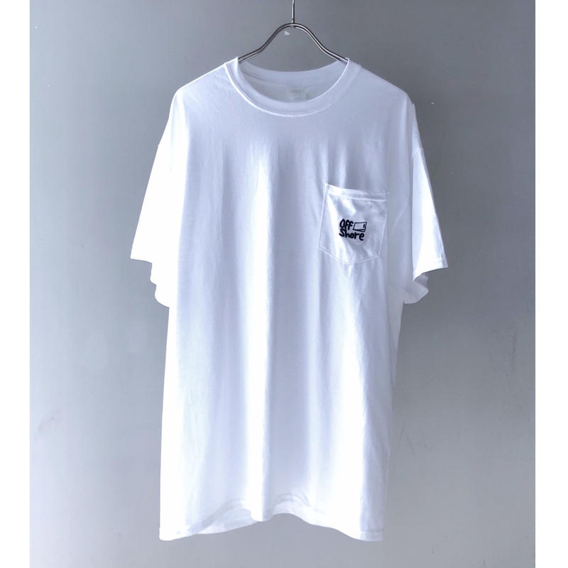 """offshore coffee  """" Pocket  Embroidery  Tee """" ( white )"""