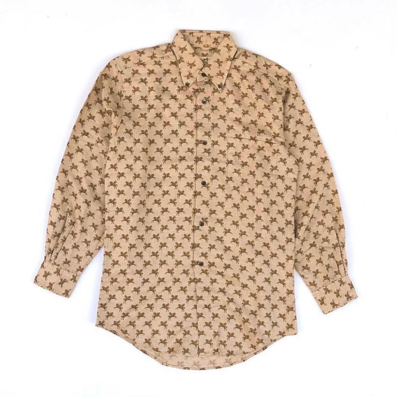 HERMES / Pegasus Pattern Cashmere Silk L/S Shirt