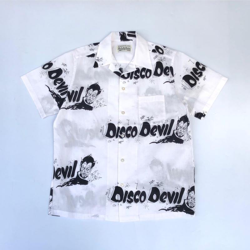 WACKO MARIA ×Lee Perry  /  Diso Devil S/S Hawaiian Shirt (type-1)  (white×black)