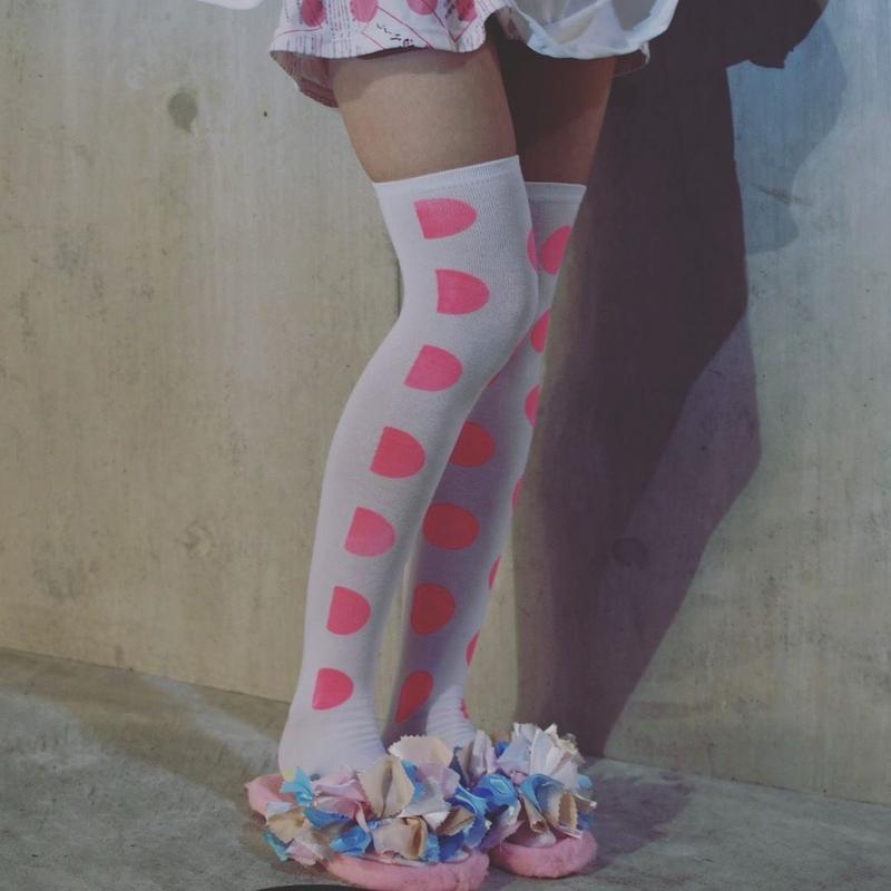 足袋ニーハイ<ドット>ピンク