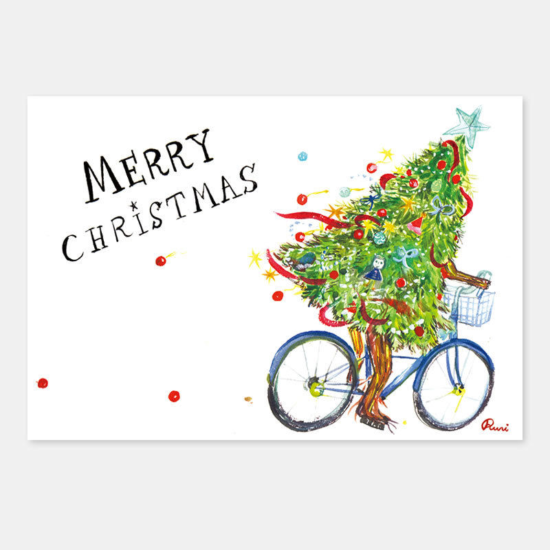ポストカード Christmas Tree Sneaks Out 封筒付き