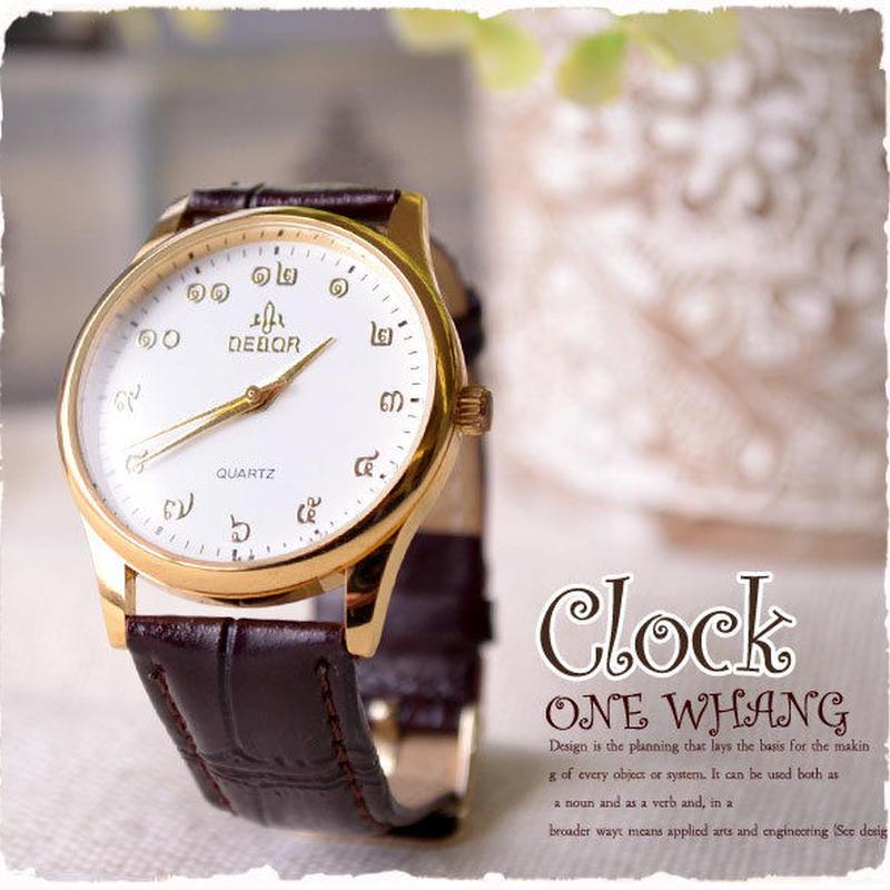 タイ文字腕時計【hir03】高級タイ文字ロゴがおしゃれアナログ時計レザーバンド 色はシャンパンゴールドでカジュアル個性的で派手め!メンズレディース兼用エスニックファッション