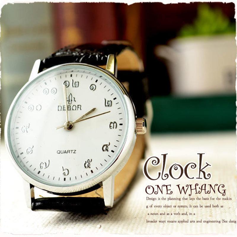 タイ文字腕時計【sak08】タイ文字ロゴがおしゃれアナログ時計レザーバンド 色はシルバーブラックでカジュアル個性的すこしハデ黒!メンズレディース兼用エスニックファッション