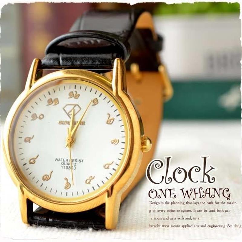 タイ文字腕時計【sak03】タイ文字ロゴがおしゃれアナログ時計レザーバンド 色はゴールドブラックでカジュアル個性的な黒!メンズとレディース兼用エスニックファッション&アジアン雑貨 は当店