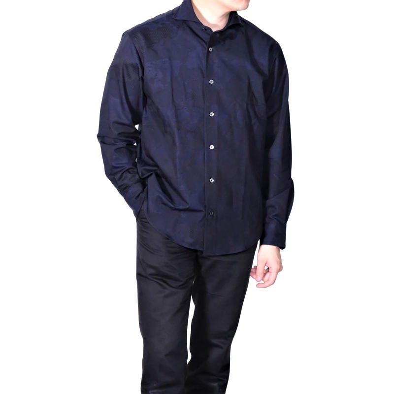 FEEL EASY ORIGINAL Jaquard World Map Shirt(Navy)