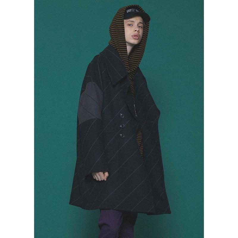 SHAREEF BIAS LINE BIG P-COAT(Black)