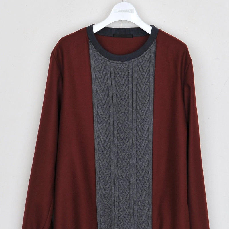 DISCOVERED KNIT MIX PULLOVER(WINE)