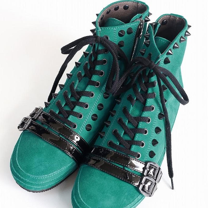 SHAREEF HIGH CUT LEATHER SNEAKER(Turquoise)