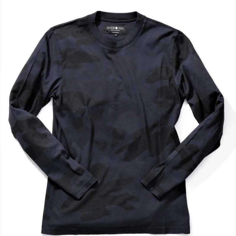 HYDROGEN CAMO SKULL T-SHIRT LS(BLACK)