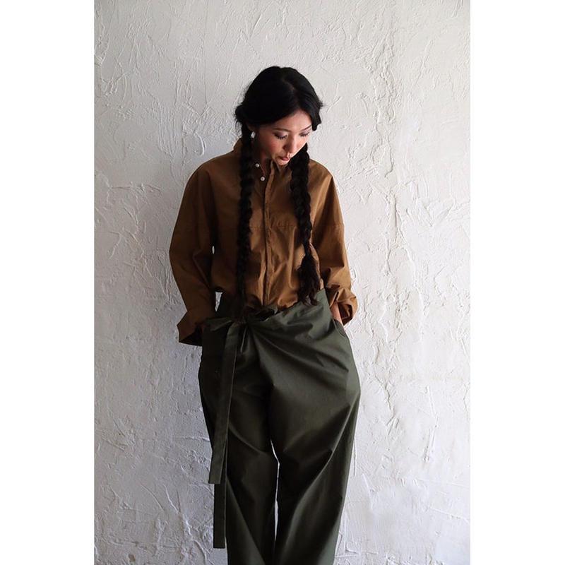 【WOMEN'S】THE FACTORY モールスキンオーバータックパンツ(Khaki)