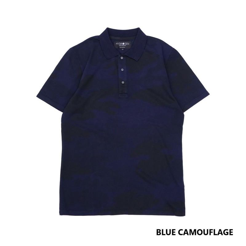 HYDROGEN CAMO SKULL POLO SS(BLUE CAMOUFLAGE)
