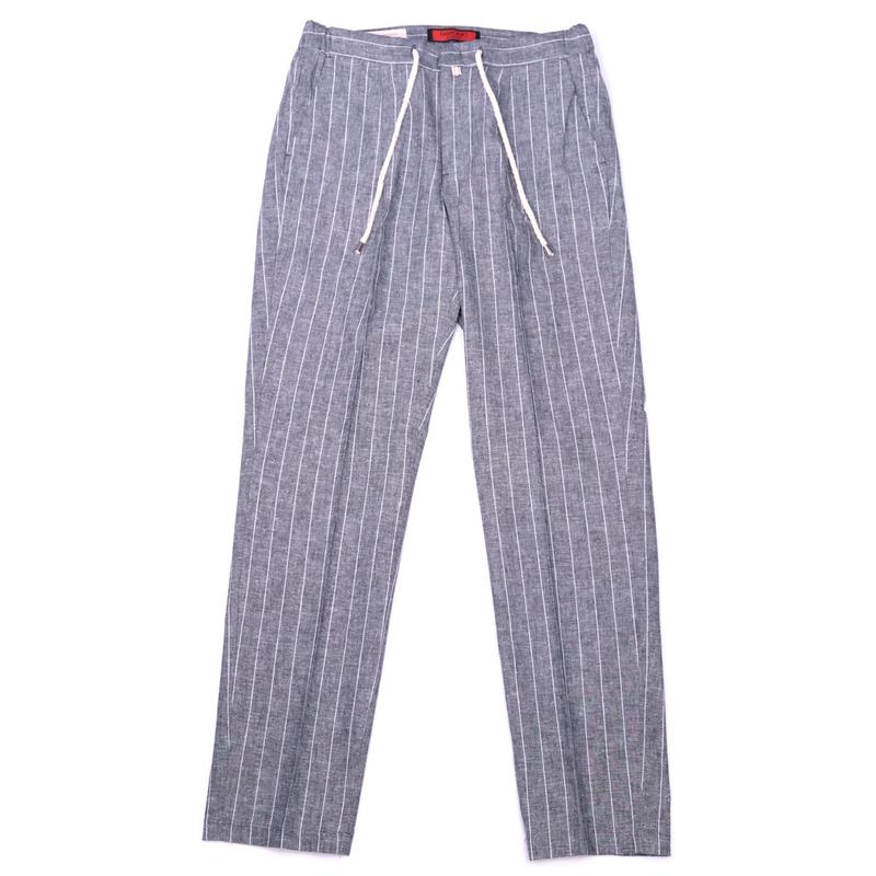 BARONIO SHELBY LINEN STRIPE(GRAY)
