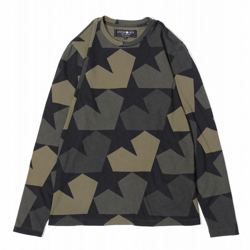 HYDROGEN STAR CAMO TEES L/S(MILITARY GREEN)