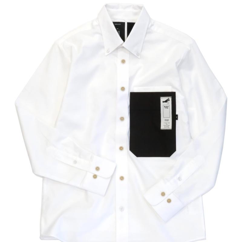 MofM(man of moods) 長袖オックスフォードパラフィン加工キャンバスシャツ(WHITE)
