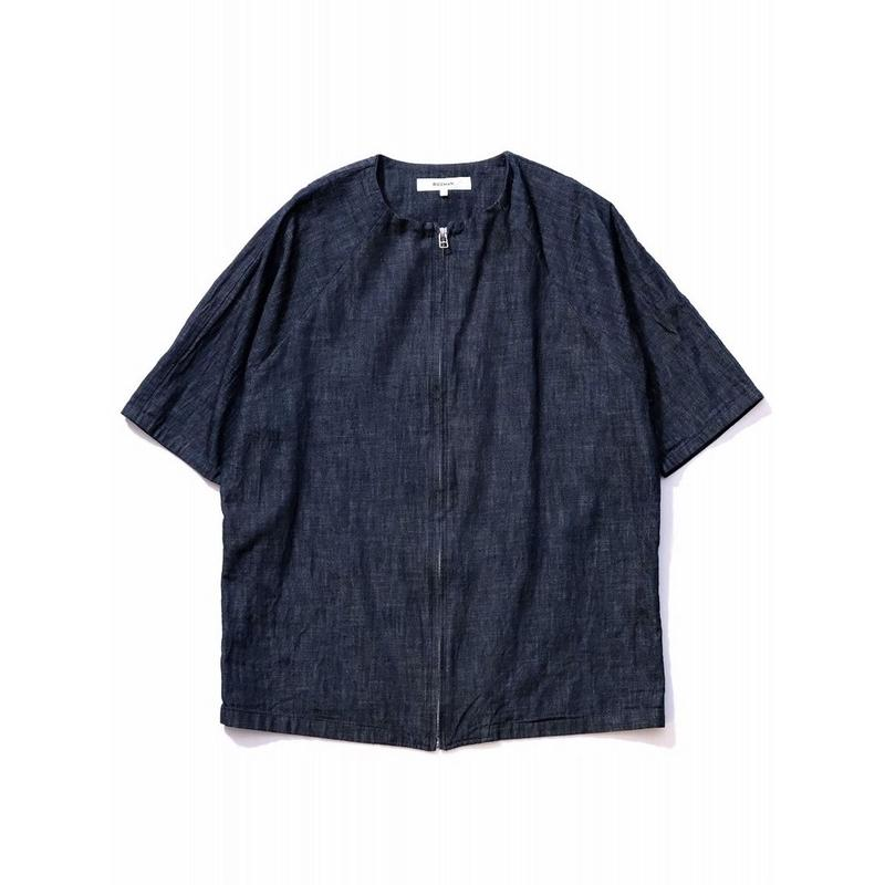 RICEMAN Zip Up Half Sleeve Shirt(INDIGO)