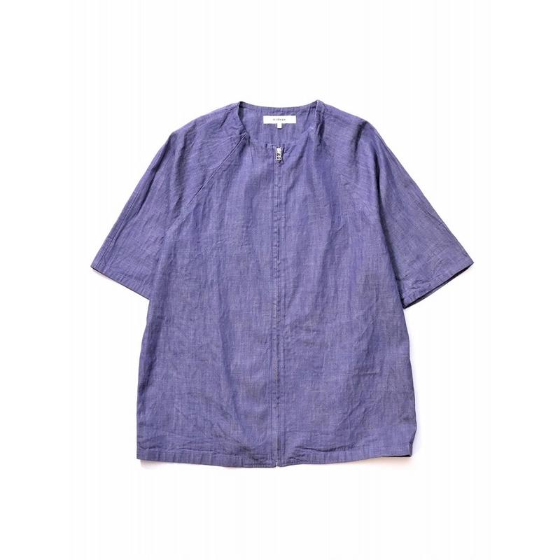 RICEMAN Zip Up Half Sleeve Shirt(DUSKY PURPLE)
