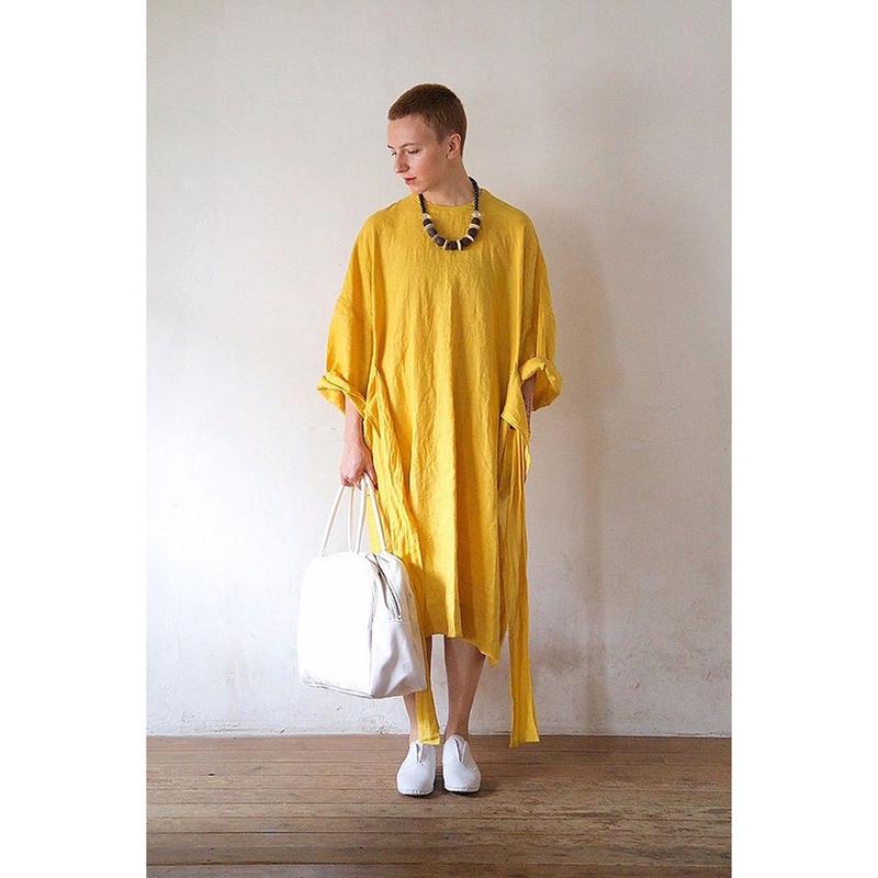 【WOMEN'S】THE FACTORY リネンウエストリボンワンピース(Yellow)