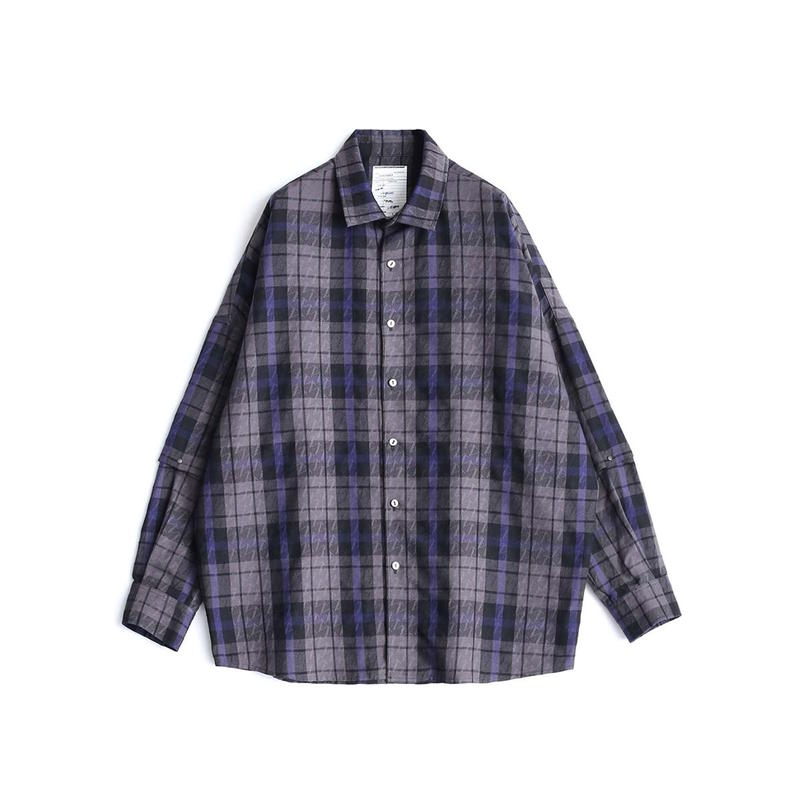 SHAREEF CHECK JACQUARD L/S SHIRTS(Black Check)