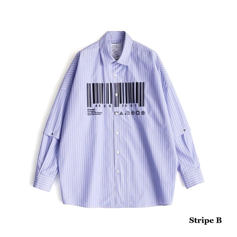 "SHAREEF ""BARCORD""SEPARATE SLEEVE SHIRTS(Stripe B)"